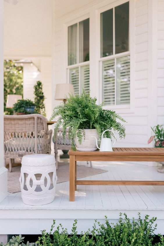 verde in vaso, un tavolino da caffè e un annaffiatoio per decorare un portico anteriore
