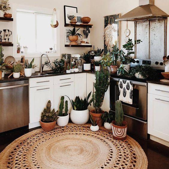 sfoggia un look boho con piante in vaso e piante grasse, un tappeto di iuta e alcuni tocchi di vimini qua e là