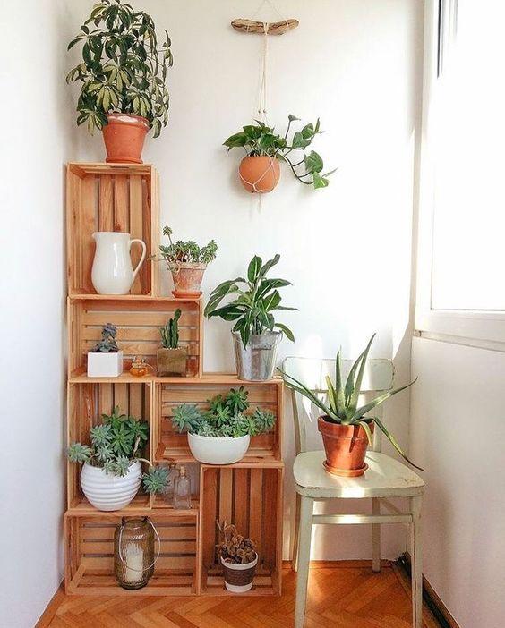 le casse con piante in vaso sono una bella idea per l'arredamento laconico, anche se puoi conservare tutto ciò che desideri lì