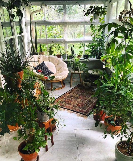 una piccola veranda trasformata in un'aranciera: un paio di sedie e molta vegetazione in vaso, lo spazio sembra all'aperto