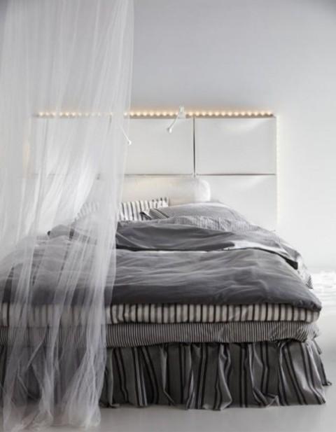 usa IKEA Trones per creare una comoda testiera con portaoggetti e luci, ideale per uno spazio contemporaneo