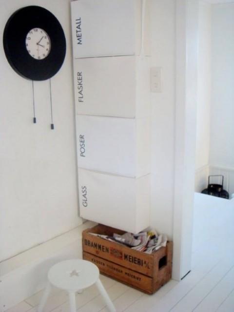 un comodo portaoggetti di IKEA Trones e adesivi con lettere nere per contrassegnare ogni cassetto
