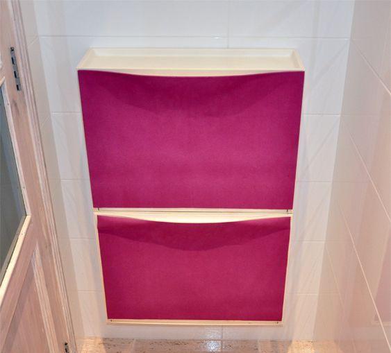 un mobile IKEA Trones abbellito con tessuto rosa caldo è un'idea elegante da scegliere