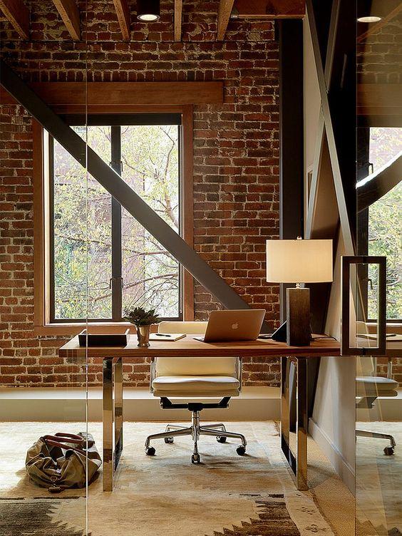 un ufficio in casa con pareti in mattoni è un'idea audace con molta consistenza, aggiungi travi per più accattivante