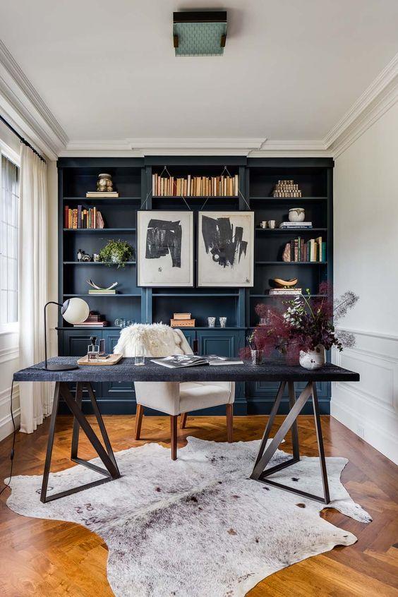 una scrivania elegante che fa una dichiarazione con le sue splendide gambe geometriche 3D
