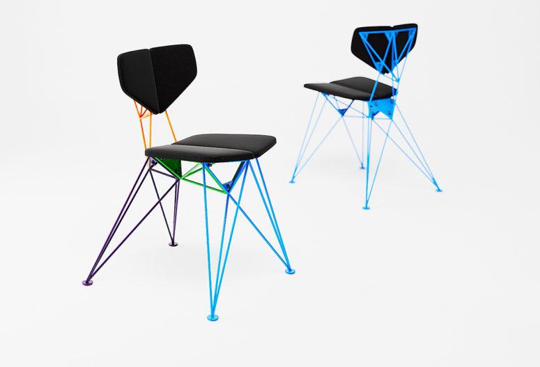 Lo schienale e il sedile sono angolati, il che rende più comodo sedersi su di essi