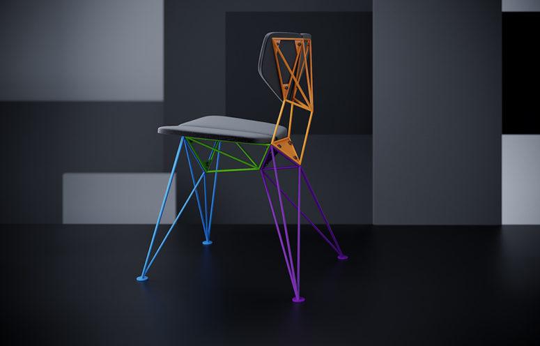 Puoi scegliere una sedia non solo con una base in tinta unita ma anche con parti colorate