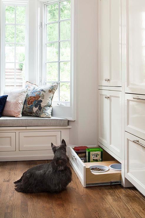 un cassetto con una stazione di alimentazione per animali domestici e anche del cibo per cani conservato qui è un'idea molto comoda