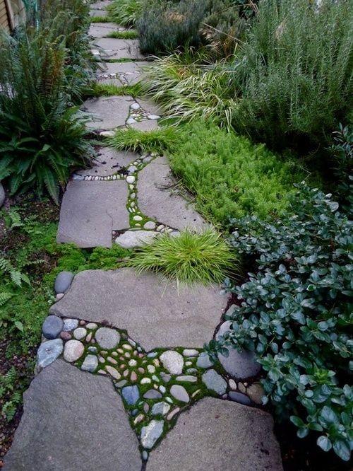vialetto accattivante e audace del giardino in pietra con muschio, rocce più piccole nel mezzo e alcune erbe che crescono
