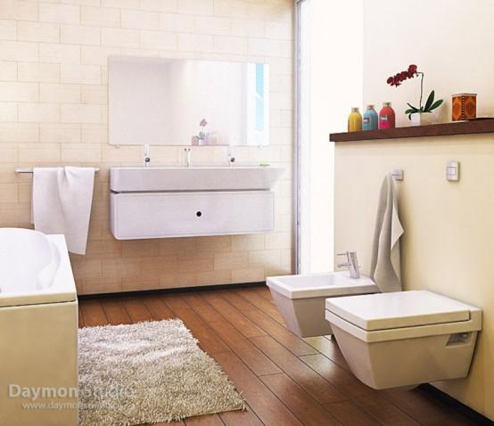 un bagno beige e crema con un pavimento in legno dai colori intensi, elettrodomestici bianco sporco