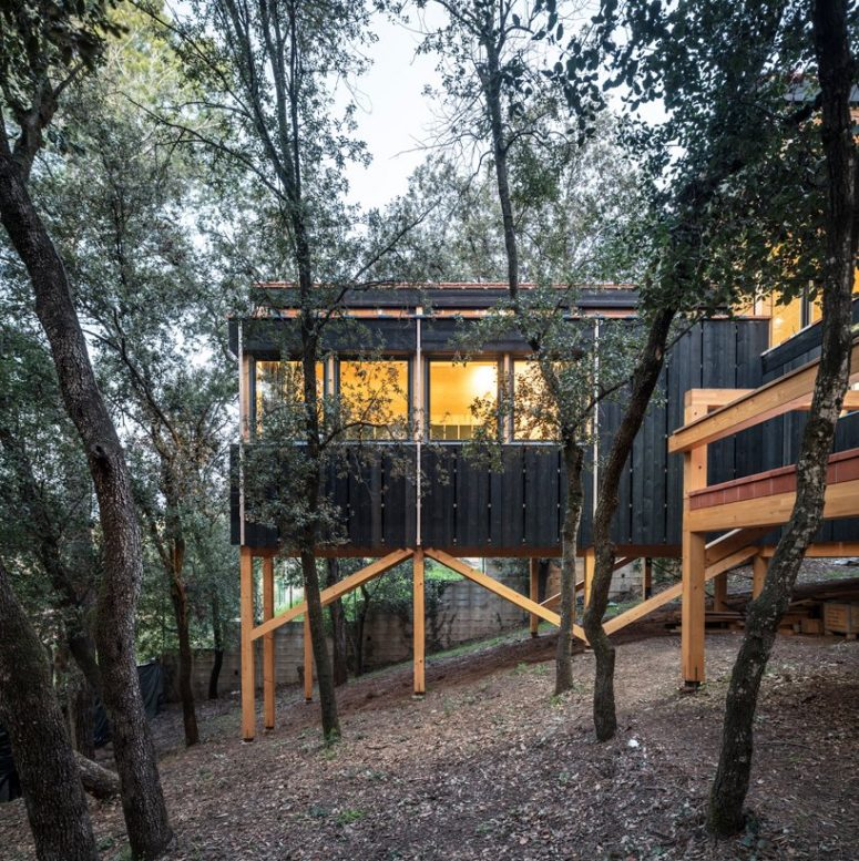 La casa presenta molto legno nel design, sia all'interno che all'esterno