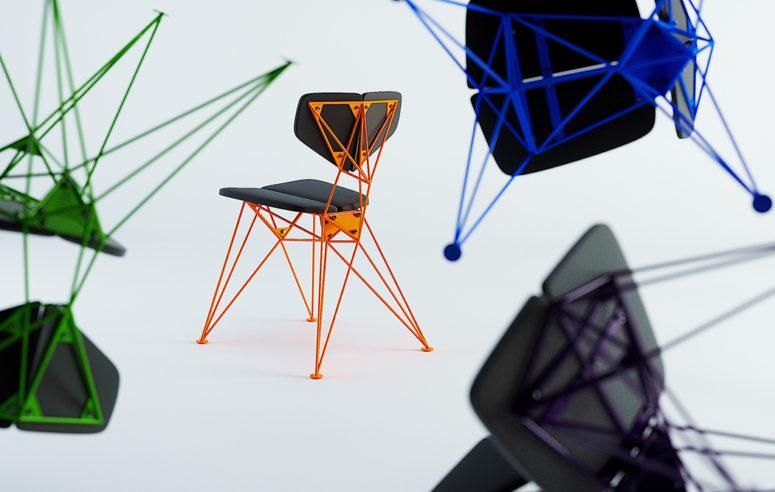 Le sedie sono caratterizzate da colori audaci e al neon e una fantastica base geometrica in tonalità al neon