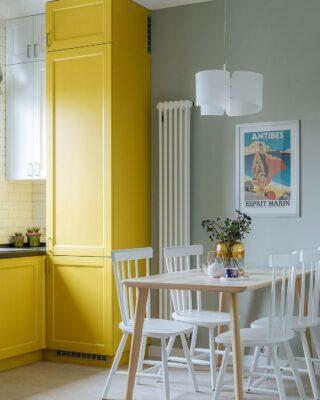 cucina gialla e bianca