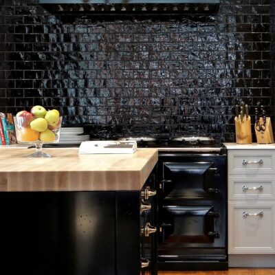 paraschizzi cucina nera
